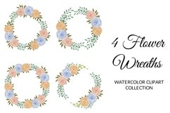 Colorful Rose Flower Watercolor Clipart Collection Product Image 4
