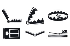 Trap catch icons set, simple style Product Image 1