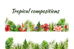 Watercolor tropical leaves and flowers Product Image 2