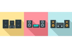 Stereo system icons set, flat style Product Image 1