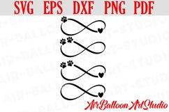 Infinity Paw Print Svg Love Paw Svg Love Dog Svg Paw Print Product Image 1