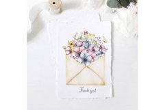 Watercolor flowers bouquet and envelope clipart Product Image 2