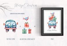 Watercolor Christmas clipart. Christmas cars and trucks Product Image 4