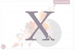 MONOGRAM Letter X Elegant Floral Monogram - Flower initials Product Image 2