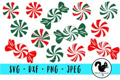 Red and Green Peppermints Candies in Wrappers SVG Product Image 1