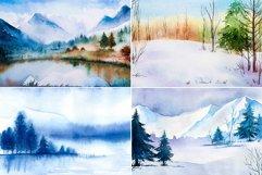 Winter Landscapes set#2. Watercolor. Product Image 2