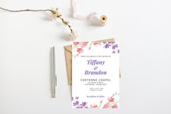 Pink and Purple Watercolor Floral Wedding Invitation Product Image 2