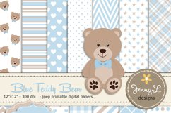 Boy Teddy Bear Digital papers and Clipart SET Product Image 1