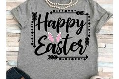 Happy Easter SVG DXF JPEG Silhouette Cameo Cricut Bunny ears Product Image 1
