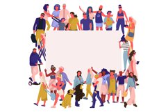 Trendy people banner. Crowd of happy men and women with blan Product Image 1