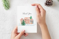Winter Town. Watercolor Cards Product Image 5