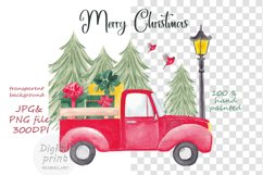 Farm fresh christmas trees, Red old car, Snowman clipart Product Image 2