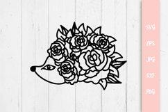 Floral Hedgehog SVG Cut File Product Image 1