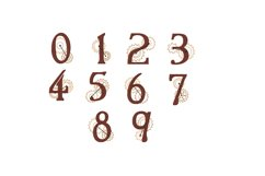 Steampunk Numbers Zero to Nine - 4 x 4 hoop Instant Download Product Image 1