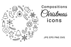 Christmas compositions from line icons. Border, wreath, ball Product Image 1