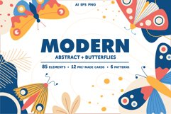 Modern abstract set & butterflies Product Image 1