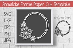 Snowflake Circle Frame Paper Cut Template Design Product Image 1
