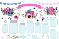 Pink and Navy Mason Jar Wedding Clipart Product Image 5