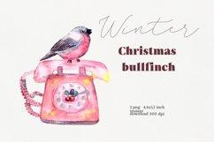 Watercolor bullfinch illustration, Merry Christmas decor Product Image 1