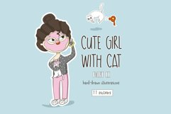 Girl with cat stickers Part 2 Product Image 1