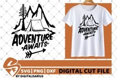 Adventure Awaits svg, Mountain svg, Camping svg, Tent svg, Product Image 1