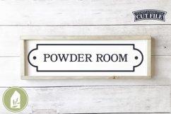Vintage Powder Room SVG, Bathroom Sign SVG Product Image 1