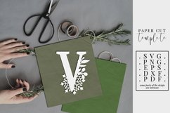 Winter letter V, single initial paper cut, snowflakes SVG Product Image 1