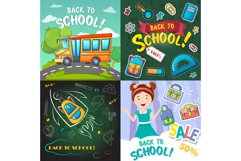 Back to school desk banner set, cartoon style Product Image 1