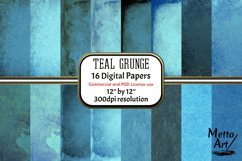 Teal Grunge - 16 Digital Papers/Backgrounds Product Image 1