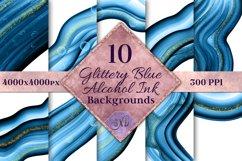 Glittery Blue Alcohol Ink Backgrounds - 10 Image Set Product Image 1