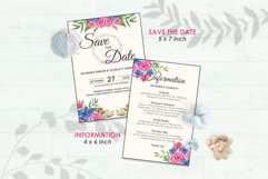 Wedding Invitation Set #8 Watercolor Floral Flower Style Product Image 3
