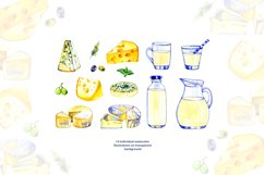 Milk and cheese - watercolor clipart Product Image 2