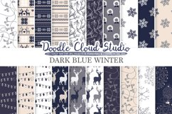 Dark Navy Blue Cream Gray Winter digital paper, Christmas Holiday patterns, Stars Snow deers X-mas backgrounds, Personal & Commercial Use Product Image 1