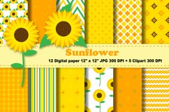 Sunflowers Digital Paper, Floral Background. Product Image 1