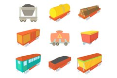 Wagon icon set, cartoon style Product Image 1