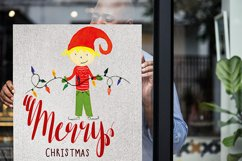 Watercolor Christmas elf with a garland Product Image 3