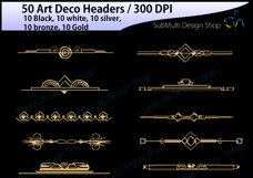 Art deco / art deco headers / art deco header clipart / art deco digital clipart / art deco frames / High Quality / template headers Product Image 3