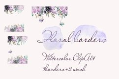 Watercolor Borders with flowers Clipart dragonfly Product Image 2