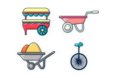 One wheel cart icon set, cartoon style Product Image 1