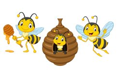 Set of Six Cartoon Bees Character Product Image 2
