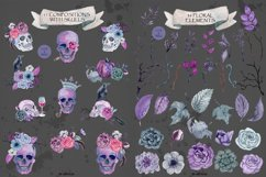 Watercolor skull with flowers Product Image 6