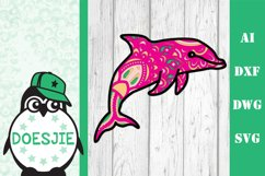 Layered Dolphin SVG multi layer mandala sea animal nautical Product Image 2