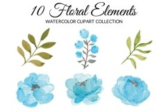 Blue Peony Flower Watercolor Clipart Collection Product Image 2