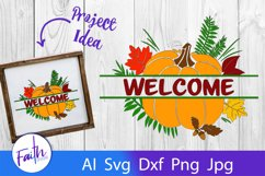 Split Fall Welcome SVG Product Image 1