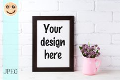 Black brown frame mockup with purple flowers in polka Product Image 1