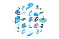Clothes for rest icons set, isometric style Product Image 1