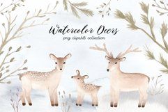 Watercolor Christmas Deers Cliparts Product Image 1