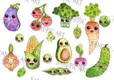 Kawaii Vegetables Clipart-watercolor . Cute vegetables Product Image 3