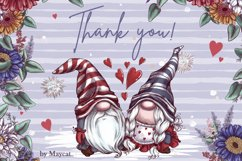 Romantic Gnomes at Valentine's Day. Hand drawing clipart. Product Image 9