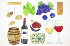 Watercolor Wine Clipart, Wine Clip Art, Wine Bottle Clipart Product Image 2